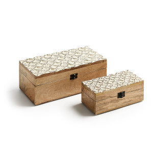 Kave Home Houk Opbergbox Hout Bruin - 15 x 30 cm
