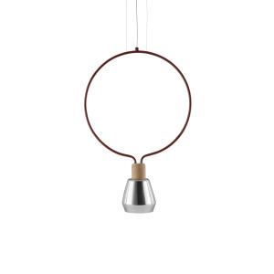 Agata Geometric Ceiling Lamp - Circle - Dark Red