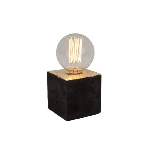 Alpha black gold concrete table lamp - grey cable