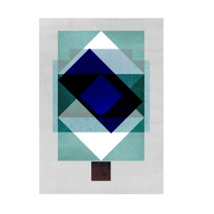 Blue Rectangular composition Artprint