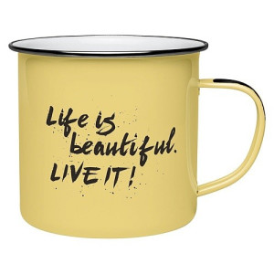 Donkey Products Mok Emaille Geel - Life is Beautiful