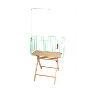 Vintage Baby Crib - mint green crib with off white protective board