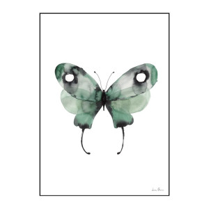 Green watercolor butterfly poster