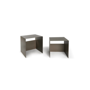 Guido set of 2 Coffee Tables in Iron - guido set of 2 coffee tables in iron - beige gray 7042