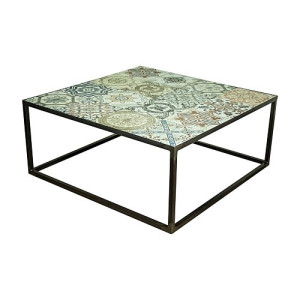 Spinder Design Ibiza Salontafel 80 x 80 x 35 cm - Blacksmith/Tegels