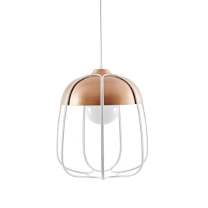 Tull Cage Ceiling Lamp - Metal - Copper/White