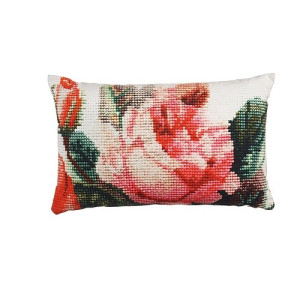 KAAT Amsterdam Embroidery Rose Sierkussen Coral 30x50