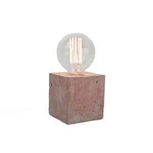 Alpha coloured red - concrete lamp - white cable