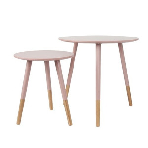Leitmotiv Graceful Bijzettafel Hout Set van 2 - Dusty Pink