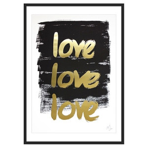Kortkartellet Handwritten Poster TRIPLE LOVE Limited Edition Goud - 40 x 55 cm
