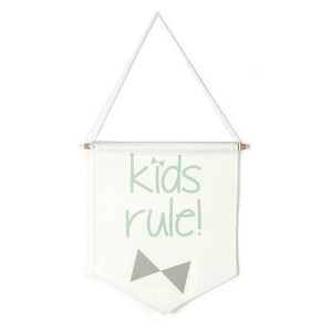 Roomblush Mini Kids Rule Vlag - Grijs