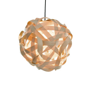 Sigma wooden pendant lamp - red cable