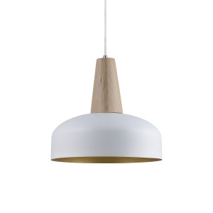 Timber lamp, white/gold