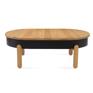 Batea L - Coffee Table - oak - black