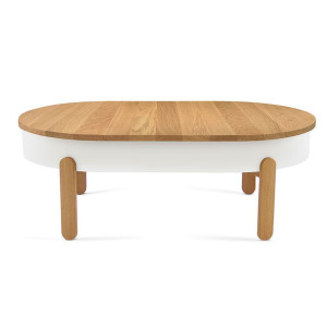 Batea L - Coffee Table - oak - white