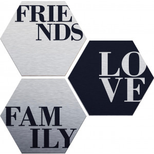 aluminium-dibondprint Love, Friends, Family