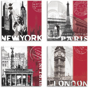 Artland artprint op linnen New York Paris Berlin London_bordeauxrot