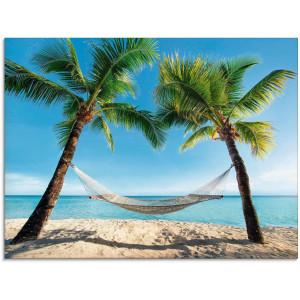 Artland print op glas Palmenstrand Caribic met hangmat (1 stuk)