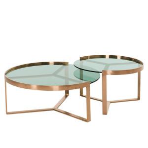 Aula salontafelset, koper en groen glas