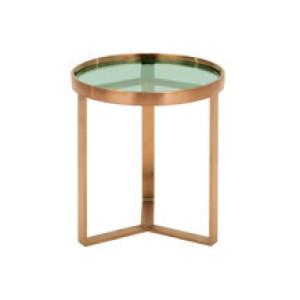 Aula bijzettafel, geborsteld koper en groen glas