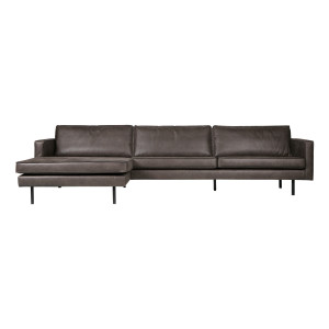 BePureHome Loungebank 'Rodeo' Links, Eco Leder, kleur Zwart