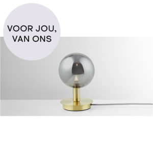 Boll tafellamp, messing en rookglas