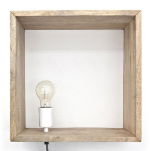 By-Boo Light in a box Industriele wandlamp hout wit