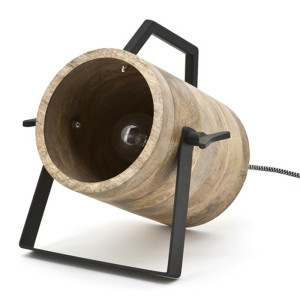 By-Boo Scotty Stoere tafellamp hout met zwart staal