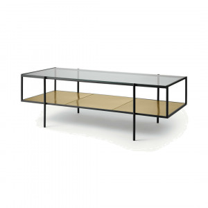 Cheney salontafel, glas en messing