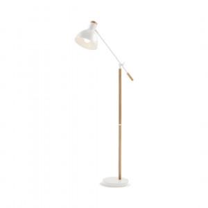 Cohen staande lamp, wit en naturel eikenhout