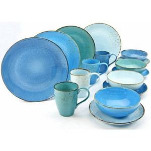 CreaTable combi-servies, NATURE COLLECTION AQUA, aardewerk, 16-delig