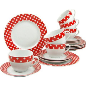 CREATABLE koffieservies porselein, 18 delen, Stippen