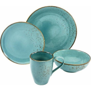 CreaTable servies, aardewerk, 4-delig, NATURE COLLECTION AQUA