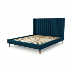 Custom MADE Cory superkingsizebed, marineblauw wol met walnoothouten poten