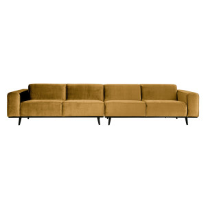 BePureHome Statement 4 zits XL bank 372 cm velvet honinggeel