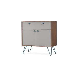 Dotty Compact Sideboard, Dark Stain and Grey