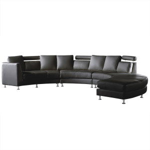 Ronde bank - Leren bank - Leren sofa - Lederen bank in zwart - ROTUNDE