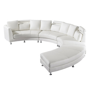 Ronde bank - Leren bank - Leren sofa - Lederen bank in wit - ROTUNDE