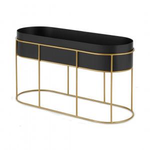 Echo vrijstaande ovalen gepoedercoate plantenstandaard, zwart en metallic goud