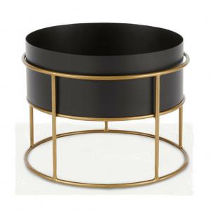 Echo vrijstaande ronde plantenstandaard, zwart en metallic goud