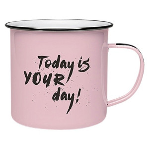 Donkey Products Mok Emaille Roze - Today is your Day