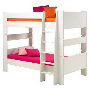 Stapelbed Steens for Kids - MDF-platen, wit gelakt, Steens