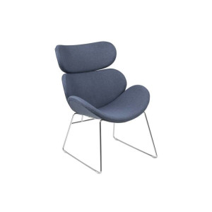 Cazy loungefauteuil donkerblauw stof