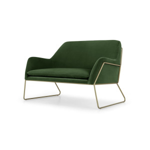 Frame Loveseat, grasgroen fluweel en messing
