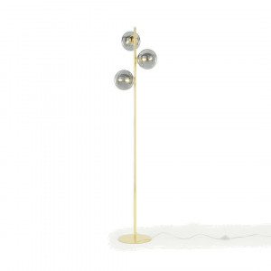 Globe staande lamp, messing en rookglas