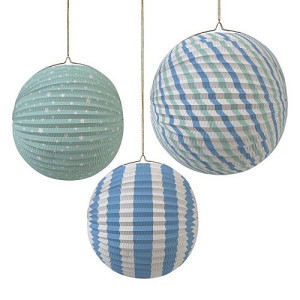 Meri Meri Papieren Decoratie Globes Set van 3 - Blue and Green