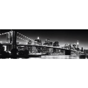 Places of Style artprint New York - Brooklyn Bridge black & , 90x30 cm