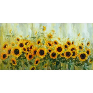 HOME AFFAIRE artprint op linnen Prieur: zonnebloemenweide, 99x49 cm