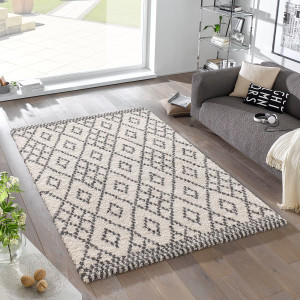 Home24 Hoogpolig vloerkleed Chess, Mint Rugs