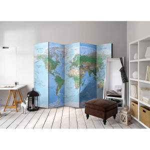 Home24 Kamerscherm World Map (set van 5), Artgeist
